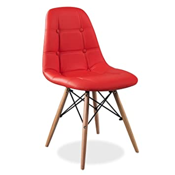 Eames Replica Cushioned Dining Chair/Cafe Chair/Side Chair/Accent Chair (Red) Color by Finch Fox