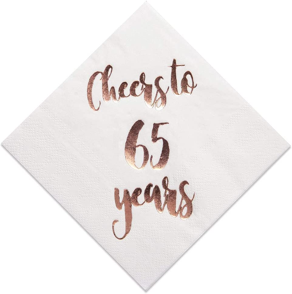 Cheers to 65 Max 50% OFF Years Cocktail Napkins White Max 58% OFF Gol 3ply Rose 50-Pack