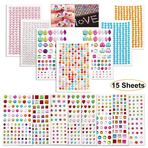 (Hartop 15 Sheets Rhinestone Stickers Self-Adhesive Bling Craft Jewels Crystal Gem Stickers for Nail, Body, Makeup, Festival, Assorted Sizes and Shapes)