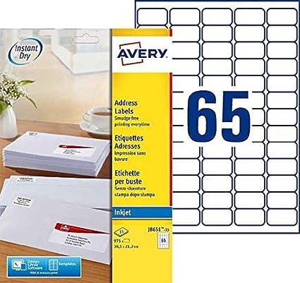 colore: Bianco Avery J8651-15 Confezione da 975 mini etichette adesive bianche 38,1 x 21,2 mm a getto dinchiostro Avery