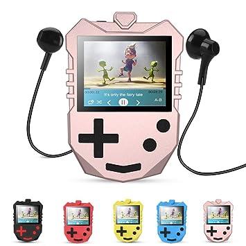 8 GB MP3 Player für Kinder, tragbarer 1,8 TFT Farbbildschirm Musik-Player  mit eingebautem Lautsprecher, FM-Radio, Sprachaufnahme, Puzzle-Spiele, ...