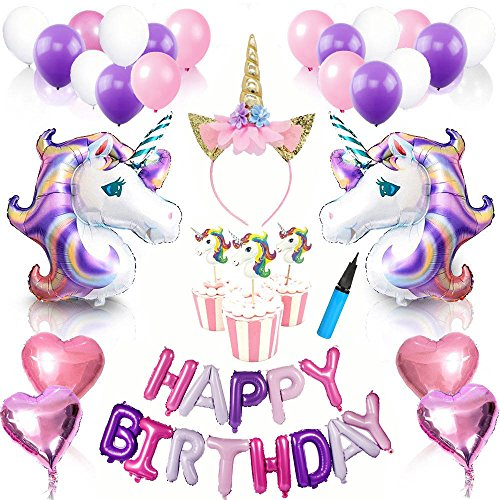 63 PCS Unicorn Balloon Birthday Decoration Set and Cake Toppers - 2 Large Magical Unicorn Foil Balloons, 24 Cake Topper, 4 Foil Heart Balloons, 13 Letters, 18 Latex Balloons, 1 Headband, Airpump