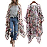 haoricu Women Cardigan, Womens Open Front Floral Print Chiffon Loose Shawl Kimono Cover up Shirt (Asian Size:L, White)