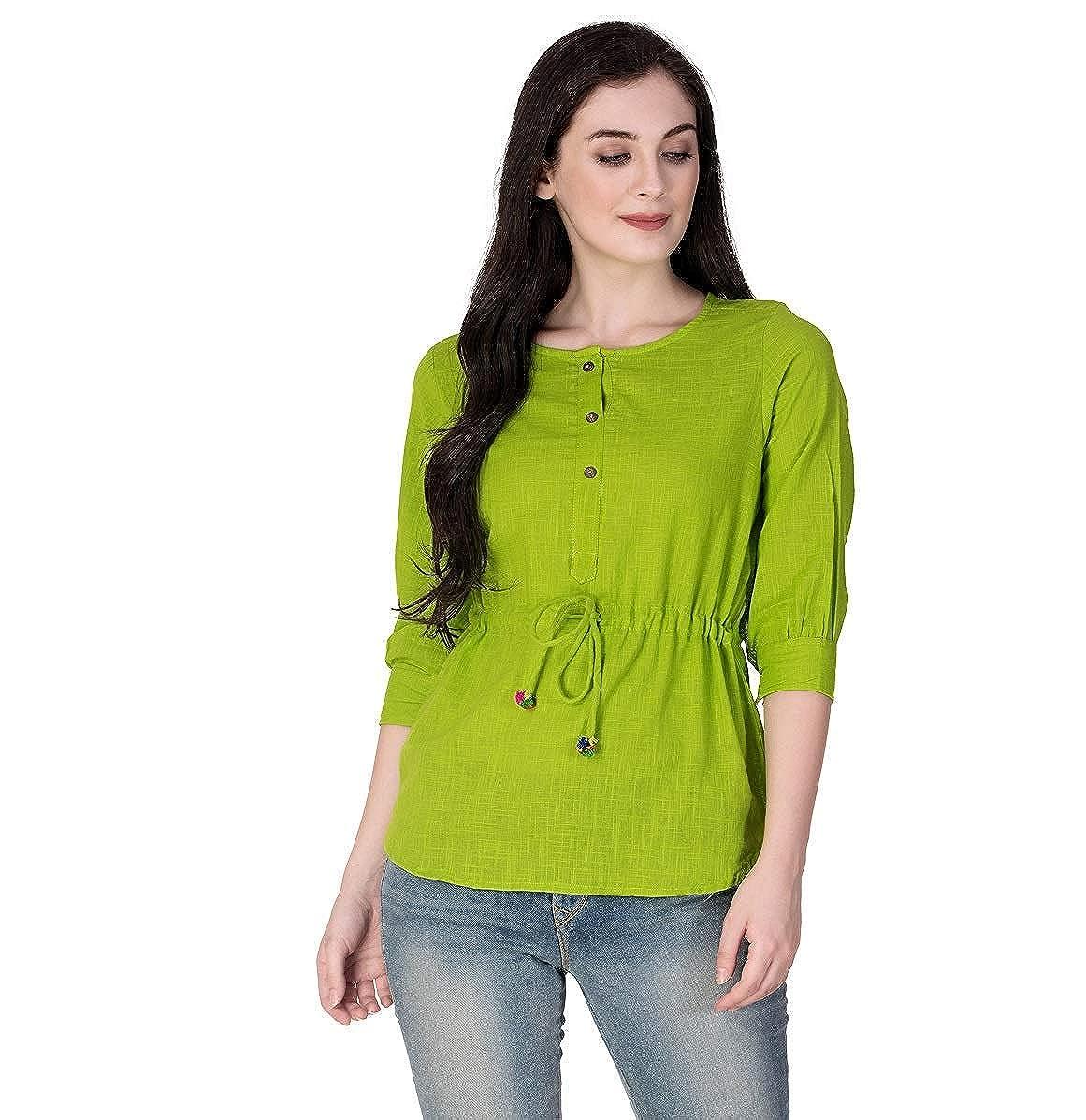 SCION Women's Beautiful Designer Green Cotton slub top for Women