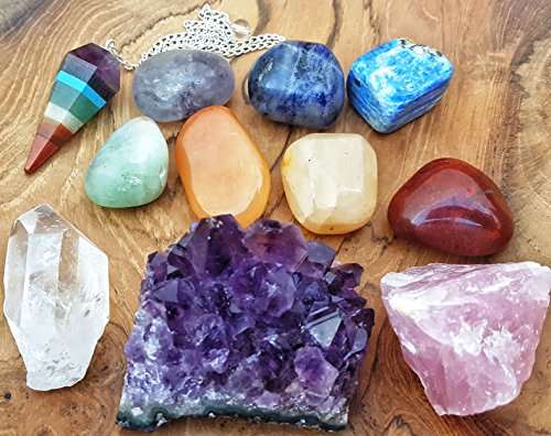 11 pcs Chakra Crystal Healing Kit / Lot of 7 Chakra tumbles, Chakra Pendulum, Amethyst Cluster, Raw Rose Quartz, and Crystal Point / Bohemian Meditation Set
