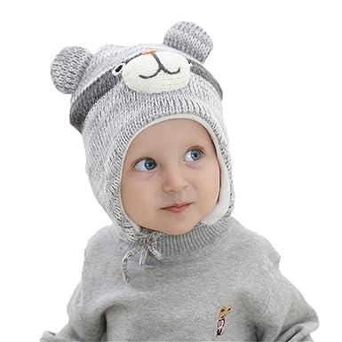 Bonnet Tricot Péruvien Enfant Bébé Garçon Ours Chapeau Automne Hiver Chaud  Casquette Cache Oreille