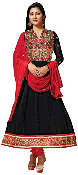 Florence Embroidered Anarkali Dress Material Dress Material at amazon