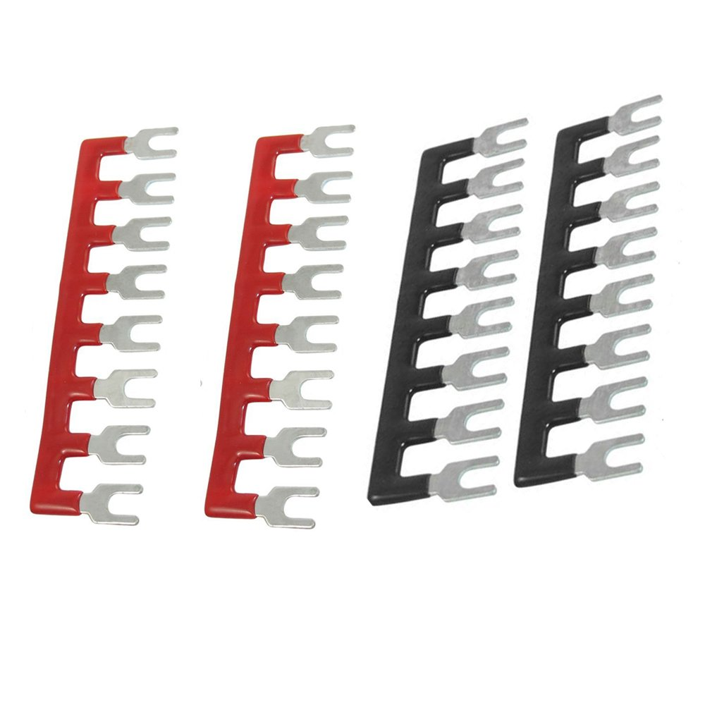 URBEST(R)400V 10A 8 Postions Pre Insulated Terminal Barrier Strip Red /Black 4 Pcs 6230642