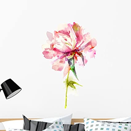 ce76f132d2 Image Unavailable. Image not available for. Color: Wallmonkeys Watercolor  Pink Peony Wall Decal Peel Stick Floral Graphic ...