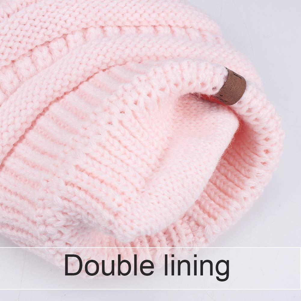 ... Womens Winter Knit Beanie Hat Slouchy Skull Cap Real Fur Pom Pom Hats  Cap For Girls ... 5cf404bae880