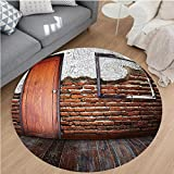Nalahome Modern Flannel Microfiber Non-Slip Machine Washable Round Area Rug-que Decor Picture Frame Put On A Damaged Brick Wall in Aged Old Room Rustic Wooden Floor area rugs Home Decor-Round 71''