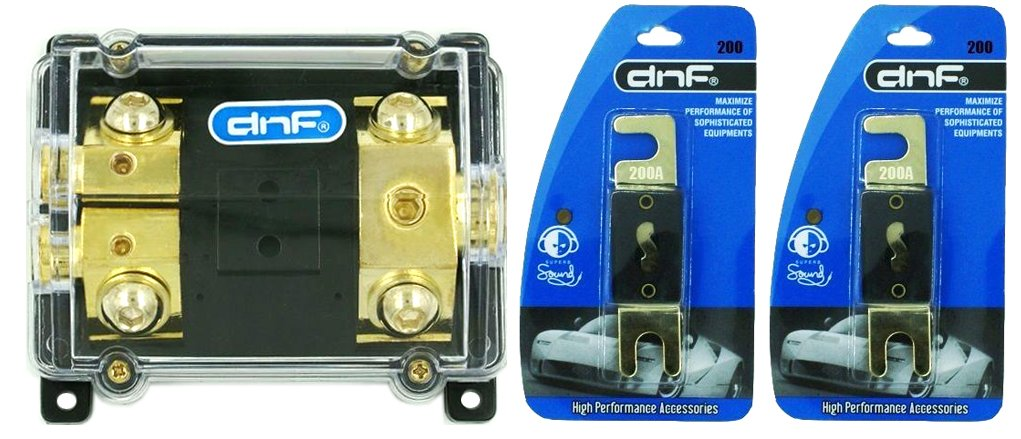 DNF ANL Fuse Holder 1-Hole In & 2-Hole Out 0/2/4 Gauge (FREE 2 PCS. 200 AMP ANL FUSE)