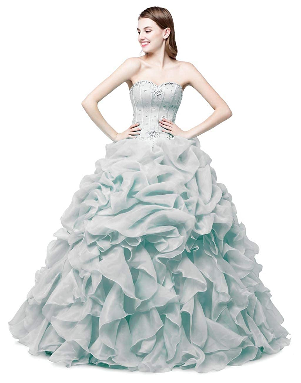 Silver Vantexi Women's Pleated Organza Formal Prom Dress Party Ball Gowns