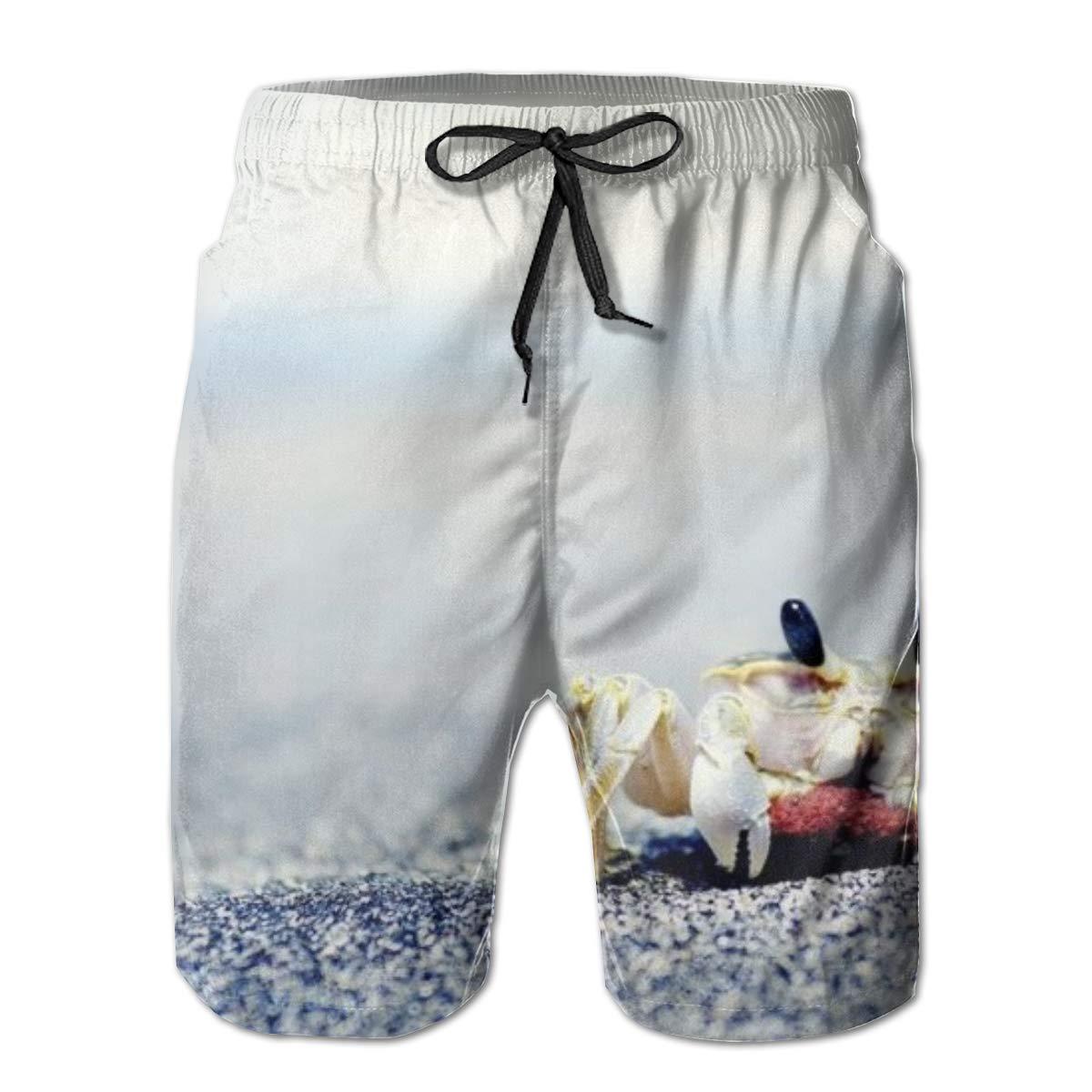 Crab Summer Holiday Mesh Lining Swimwear Board Shorts with Pockets Hateone Mens Beach Shorts Quick Dry