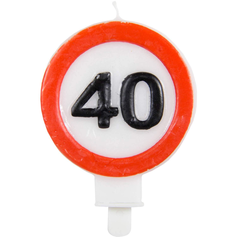 Party Collection - Vela de cumpleaños (40 Unidades, 6 x 8,5 cm), diseño de señal de tráfico