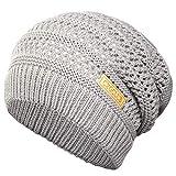 CXGCLUB Beanie Hat for Men and Women Winter Warm Ultrafine Knit Fleece Hat Ski Slouchy Skull Cap (Dark Blue + Light Grey)