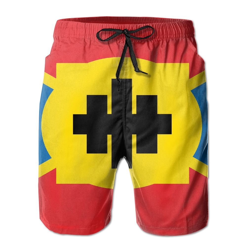 Rniom New Cartoon Fashion Flag Summer Beach Pants Casual Shorts For Man