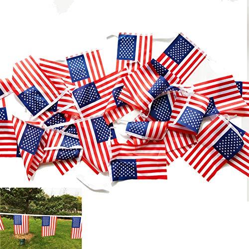 oremila 33 Feet American Flag Banner String, 30pcs 9.8