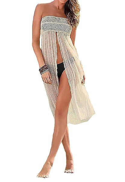 75c073c705a53 GenialES Pareo para Bañador Falda Playa para Mujer Beige Talla Unica  Cintura 72-100cm, Longitud 92cm: Amazon.es: Ropa y accesorios