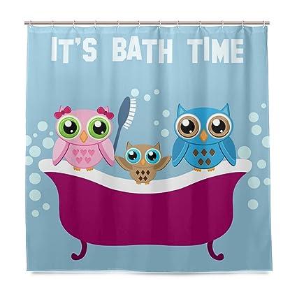 Amazon Com U Life Cute Bath Tub Owls Decorative Bath Shower Curtain