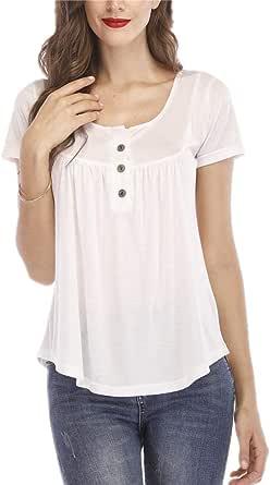 Women's Short Sleeve Round Spilt Neck Pleated Button Details Tunic Shirt Top(/)