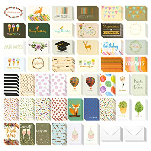 144 Pack Assorted All Occasion Greeting Cards - Includes Birthday, Wedding, Thank You Note Cards Assortment - Bulk Box Set Variety Pack with Envelopes Included - 48 Different Designs - 4 x 6 Inches -
