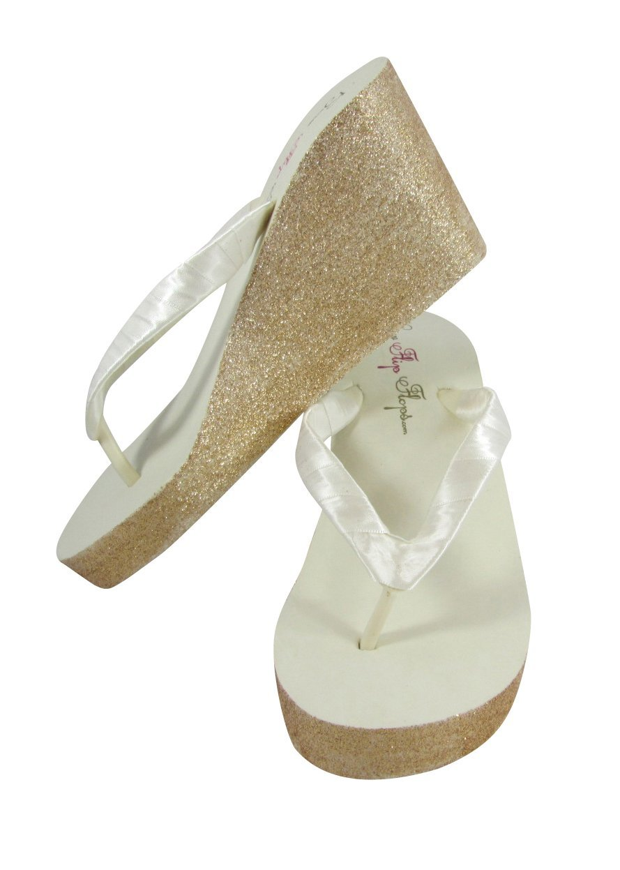 652d66c09b16 High Ivory Wedge Flip Flops with Gold Glitter Bling Sides - or customize  with silver