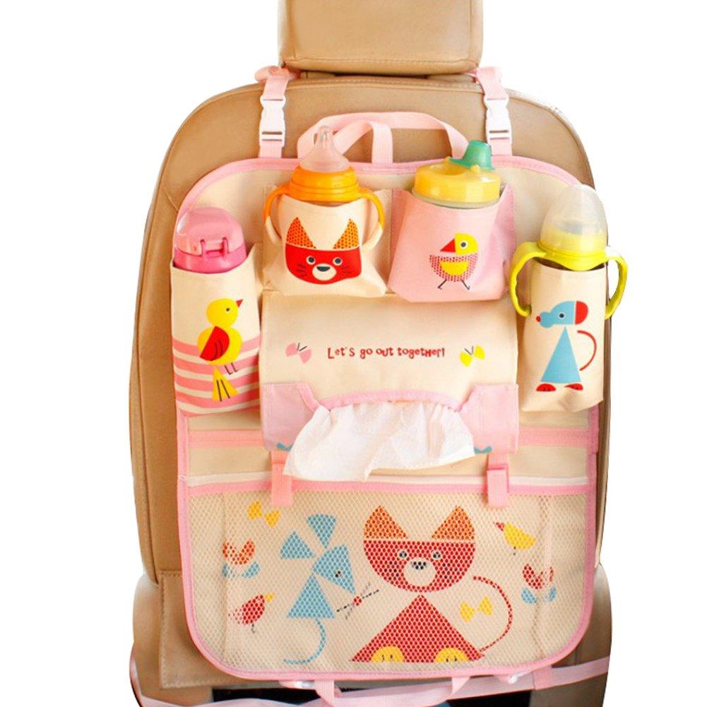 Car Backseat Organizer Kick Mats - Auto Seat Back Protector Kids Toy Storage Rabbit