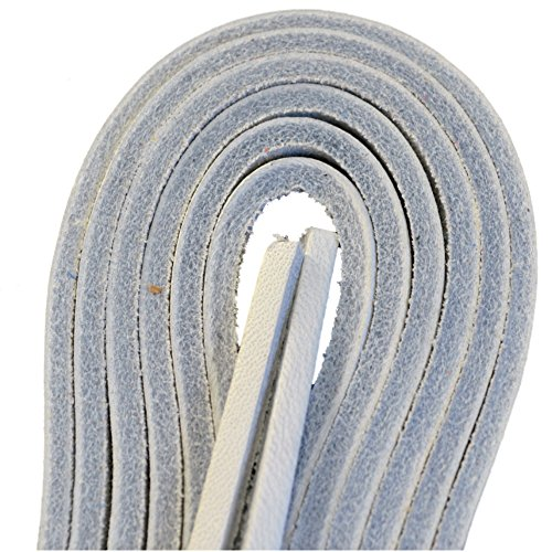 Tofl Leather Boot Laces-1 Pair 72 Inches Long--Easy Sizing Cut to Fit (White) (White Boot Tops)