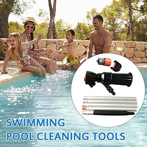 Elikliv Vacuum Pool Cleaner, Portable Swimming Pool Cleaning Tool with 5 Pole Sections Suction Tip Connector Inlet Pond Vacuum Cleaner Detachable Pond