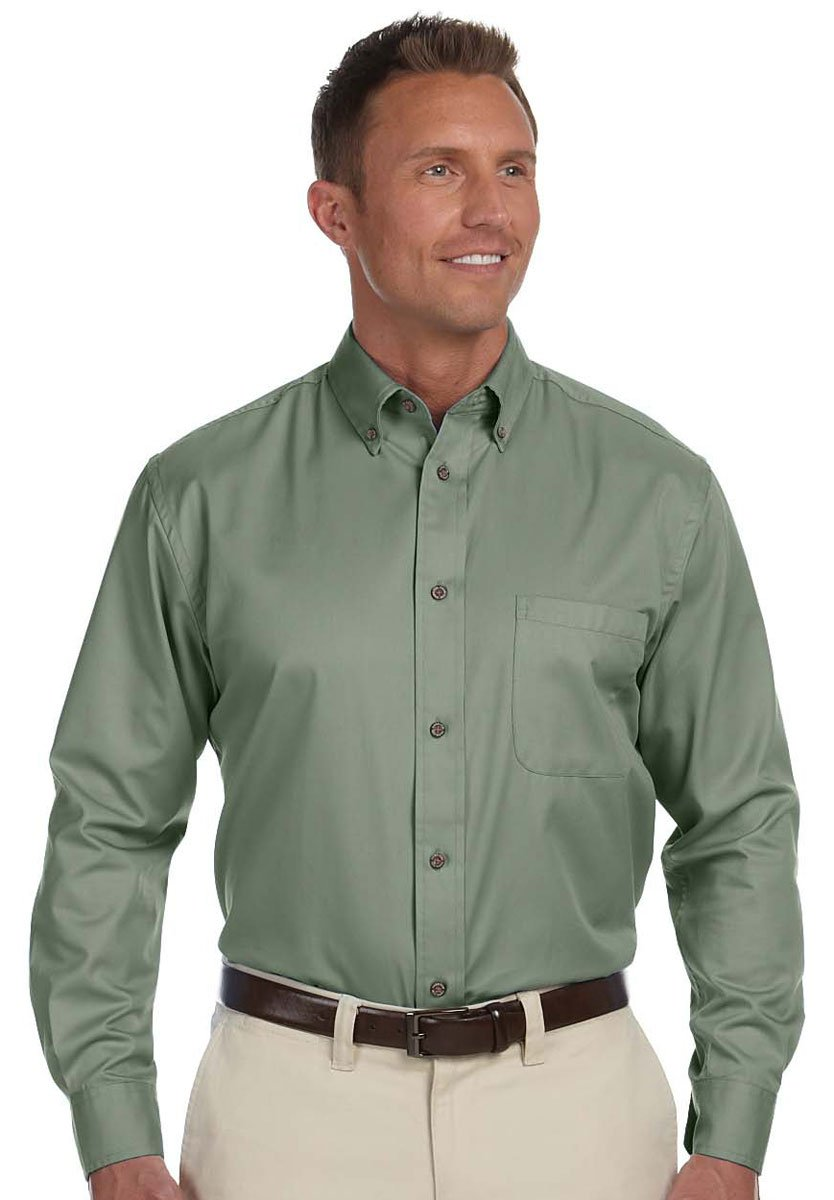 Harriton Mens Easy Blend Long-Sleeve Twill Shirt with Stain-Release 6XL DILL