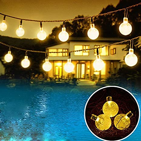 Outdoor Solar Powered String Waterproof Lights 20 Ft Garland 30led Fairy String Lights Bubble Crystal Ball Lights Decorative Lighting For Indoor Garden Home Holiday Decorations Warm White Garden Outdoor