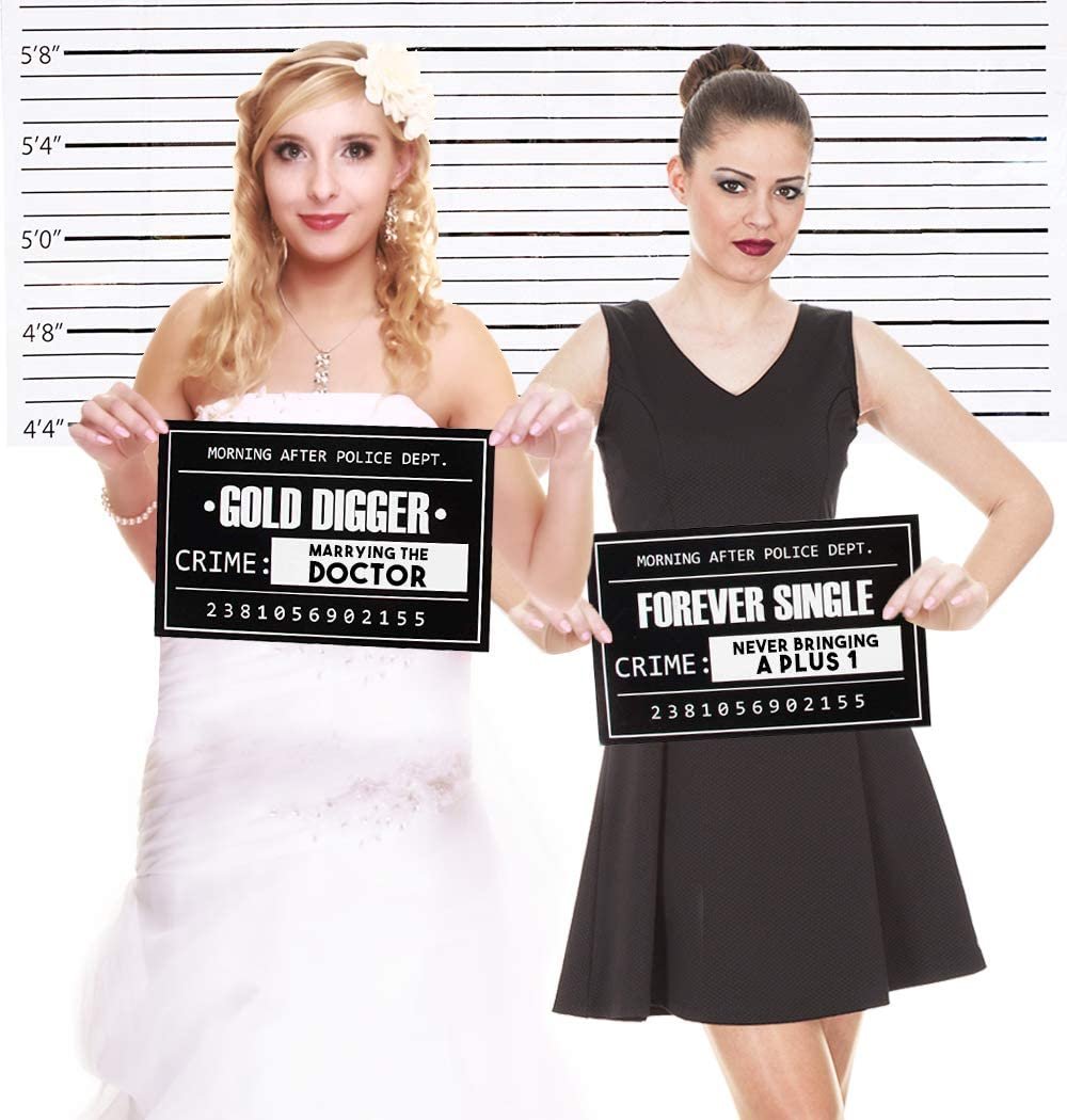 Sign: 11.5 x 7.5 Inches Bachelorette Party Wedding Mugshot Signs Background: 5.17 x 3.83 Feet 25 Photo-Booth Props with Height Chart Backdrop Poster for Birthday