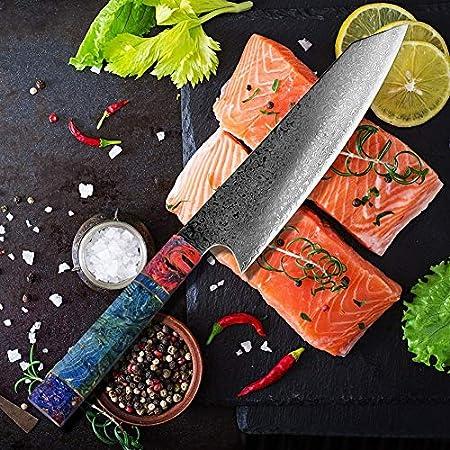 """Cuchillo de Damasco Cuchillo de cocina del chef de 8"""" pulgadas salmón japonés acero de Damasco de la cocina que rebana el cuchillo de carnicero Santoku solidificadas de madera de alta definición"""
