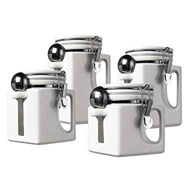 Oggi EZ Grip Handle 4-Piece Ceramic Airtight Canister Set, White