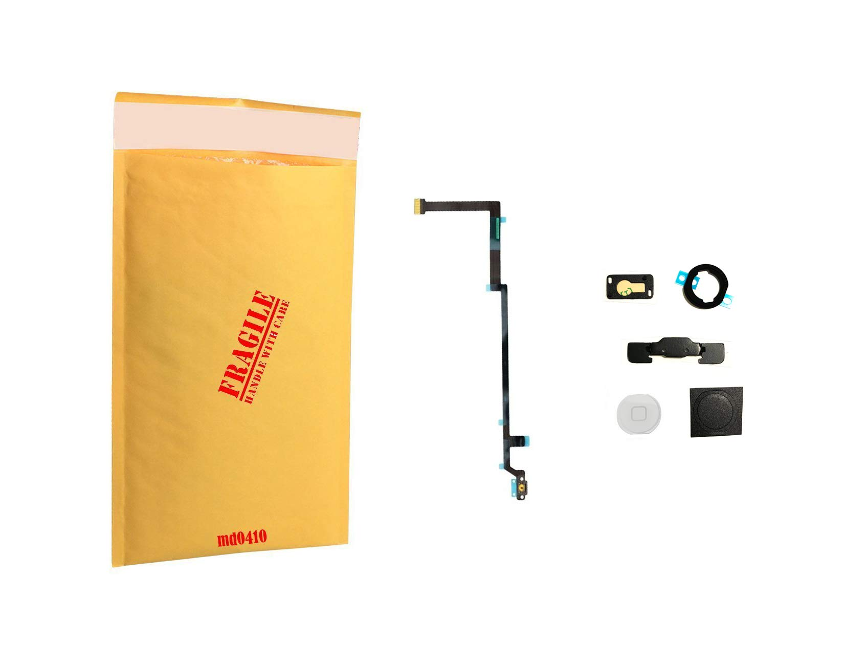 (md0410) White Menu Home Button Flex Ribbon Cable Replacement Part Compatible for ipad Air Model A1474 A1475 A1476 + Camera Holder + Rubber + Metal Bracket