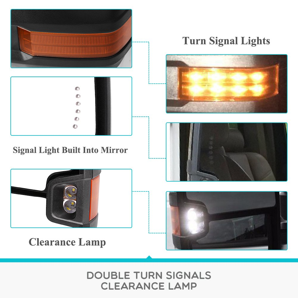 Yitamotor Towing Mirrors For 99 02 Chevy Silverado 2002 Wiring Diagram Heated Avalanche Gmc Sierra Pair Tow Power Led Signal Clearance Light Side