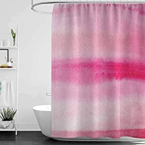hengshu Peach Precision Custom Shower Curtain Hand Drawn Watercolor Brush Strokes Artsy Pattern Wet Paint Style Romantic Image Modern Bathroom Decoration W78 x L72 Inch Pink Hot Pink
