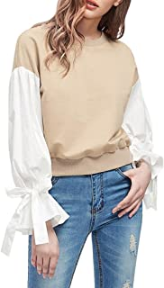 Lilicat Frauen Sweatshirt Casual Bluse Rondhals Langarmshirt Herbst Damen Tunika Lange ärmel Patchwork Tuniken Baumwolle Lässigen Oberteil Chic Tops Mode T-Shirt