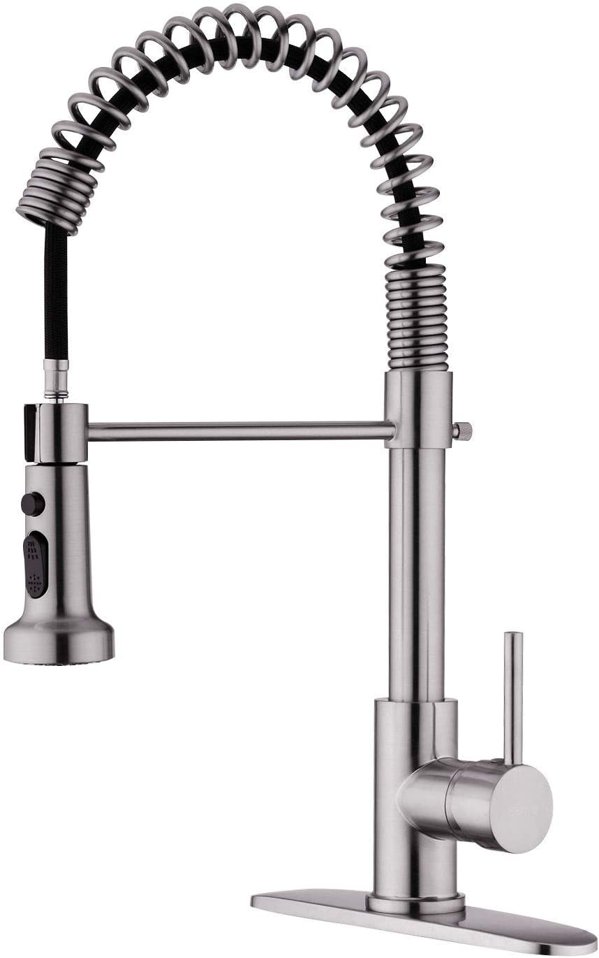 EKRTE Kitchen Faucet, Brushed Nickel Kitchen Faucet with Pull Down Sprayer, Single Handle Stainless Steel Pull Out Kitchen Faucet, Commercial High Arc 1 or 3 Hole Sink Faucets with Deck Plate