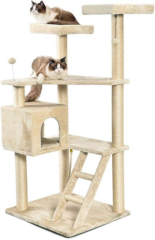AmazonBasics - Árbol con varios niveles, cerramiento y escalera para gatos, extragrande, 80x179,1x73,7 cm, beige: Amazon.es: Productos para mascotas