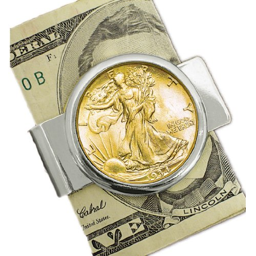 American Coin Treasures Silvertone Coin Money Clip with Silver Walking Liberty Half Dollar Layered in Pure (Gold Certificate Currency)