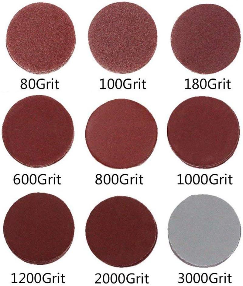 SIQUK 100 Pieces Sanding Discs 125mm 8 Holes Hook and Loop 1000//1200// 1500//2000//