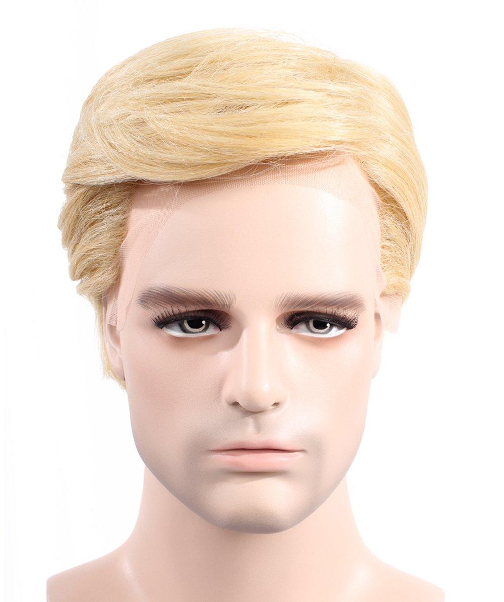 Halloween Party Online Donald Trump II Wig, High Heat Resistant Fiber & Lace Front, Blonde Adult HM-169