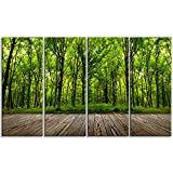 Designart PT6862-271 4 Panel ''Room Interior in Forest Landscape Contemporary'' Canvas Art Print, Green, 48x28''