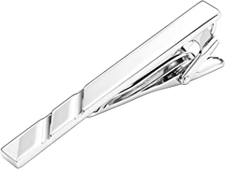 Aooaz Men Stainless Steel Mens Tie Clip Two Twill Silver Tie Pin Retro Shirt Suit Bussiness 0.6X6.5CM