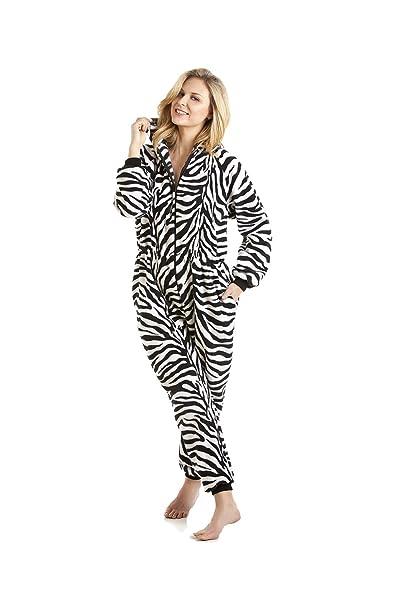 Camille - Pijama de una pieza con capucha para mujer - Estampado de cebra - Blanco y negro: Amazon.es: Ropa y accesorios