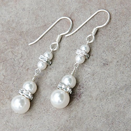 (Two Tier Sterling Silver Drop Earrings with White Swarovski Simulated Pearls and Rhodium Plated Rhinestones)