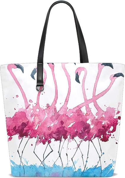 XiangHeFu Bolsos de mujer Flamingos Pintura de tela de ...