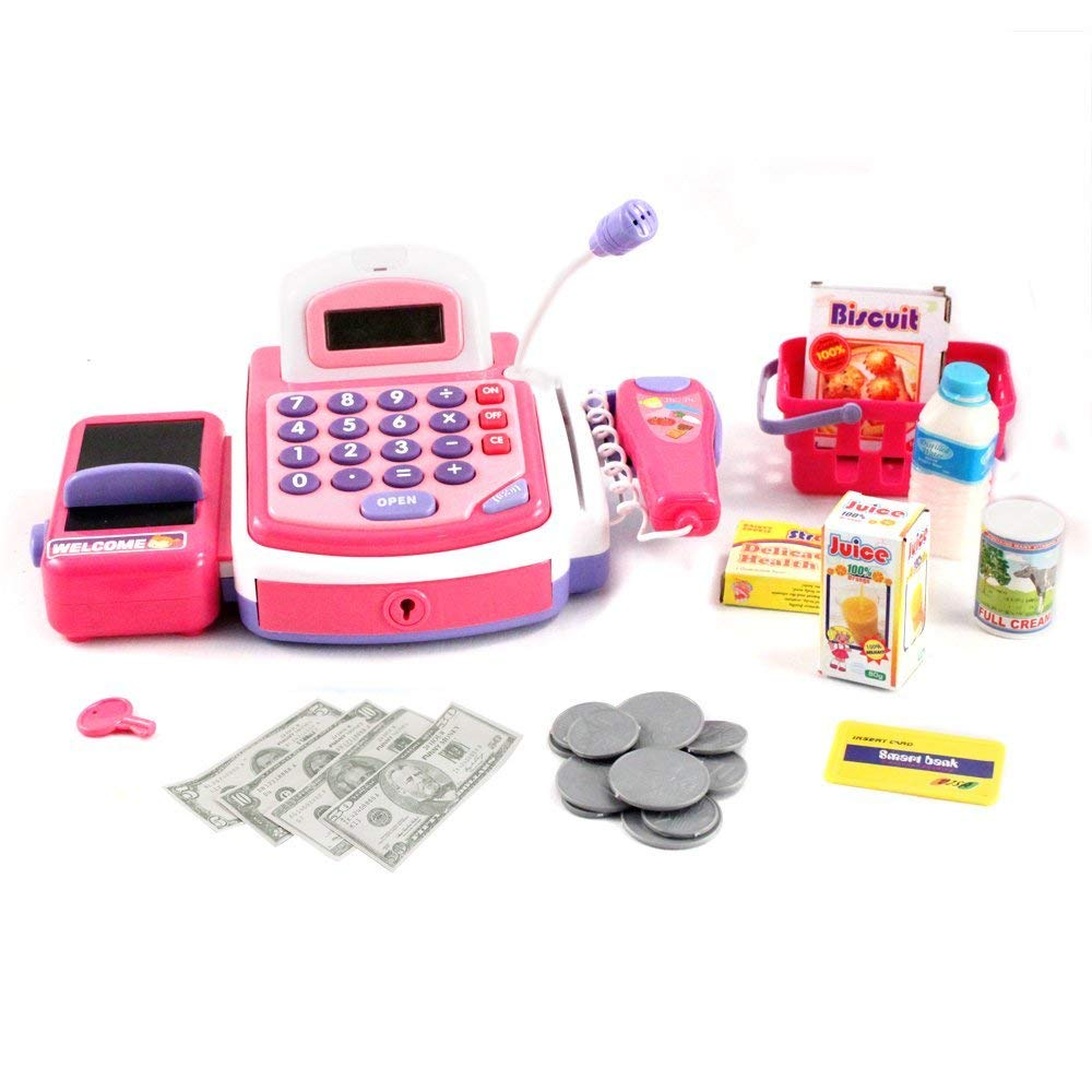 Kid Fun Pretend Play Electronic Pink Cash Register Toy Realistic Actions and Sounds